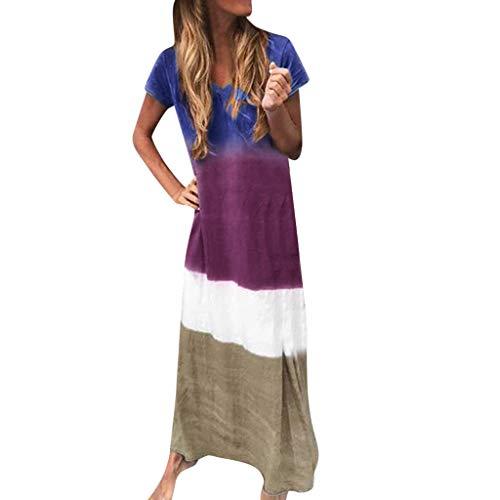 WatFY Dress Women Sundress Print Color Block Skirt Loose V Neck Ball Gown Short Sleeve Long Maxi Dresses (Purple, XL)]()