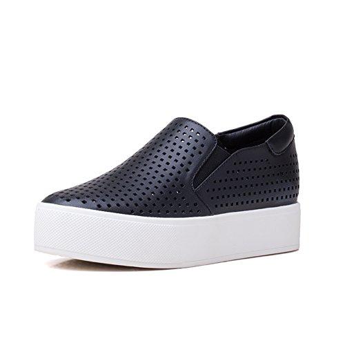 La versión coreana de Le Fu/Zapatos planos/ zapatos de suela gruesa plataforma/Zapatitos blancos B