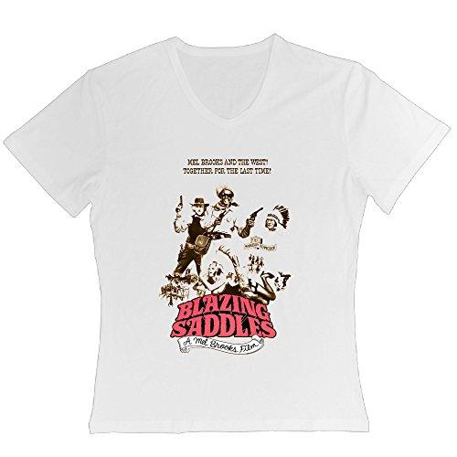 Women's Mourn Gene Wilder Blazing Saddles 1974 Movie Poster V-neck (1974 Large Poster)