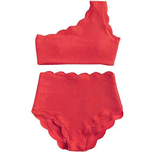 Armfer Bathing suit Women Two Pieces Scalloped Bikini Red Set Swimsuits Bandeau Tube Swimwear Scalloped Bikini Bottoms High Waisted