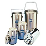 Cole-Parmer SS111 SS111 Universal-Style Stainless Steel and Glass Dewar Flask with Handle and Lid, 1 L