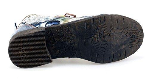 Damen Boots Halbschuhe Stiefeletten Echtleder TMA Comfort 5168 Blau