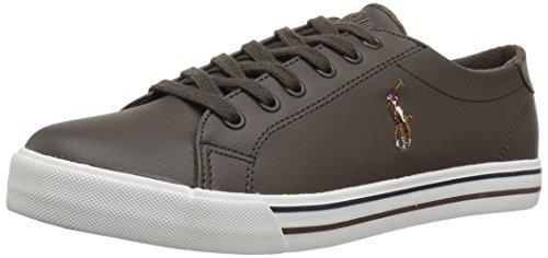 Polo Ralph Lauren Kids Boys' Slater Sneaker, Chocolate Tumbled, 6.5 Medium US Big Kid