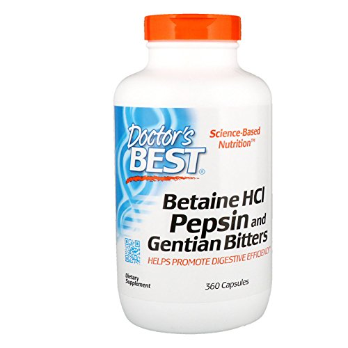 (Doctor's Best Betaine HCI Pepsin and Gentian Bitters, Non-GMO, Gluten Free, Digestion Support, 360 Caps)