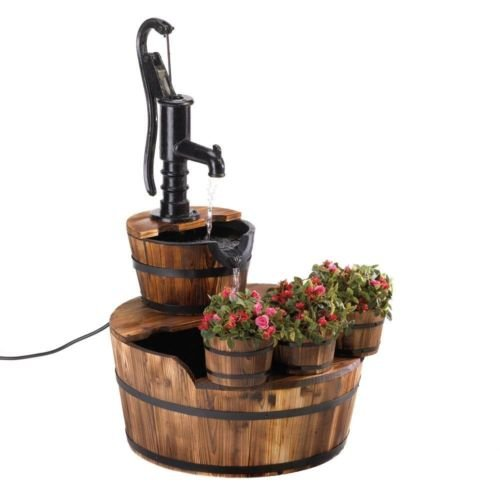 Oasis Original Waterfall (Water Fountain, Electric Wood Barrel Modern Antique Backyard Fountain Outdoor)