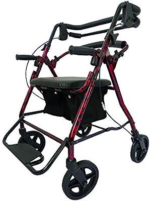 Bouting Andadores PortáTil Cuatro Ruedas Andador con Asiento Apoyabrazos Apto para Personas Mayores/Discapacitadas