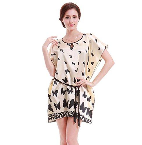 ZC&J Mariposa del verano clásico camisón de seda corto verano la letra servicio a domicilio Sra camisón de seda de la falda / baño,pink,one size Yellow