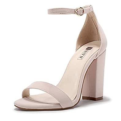 IDIFU Women's Cookie-HI Block High Heels Sandals Chunky Strappy Open Toe Wedding Party Pump Shoes (5 M US, Nude Nubuck)