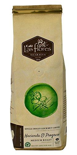 Café Las Flores Hacienda El Progreso Medium Roast Whole Coffee Beans 454 GRAMS (1 POUND) 100% Arabica Single Origin Gourmet Coffee Blend - Rainforest Alliance Verified - Nicaragua's Finest Coffee