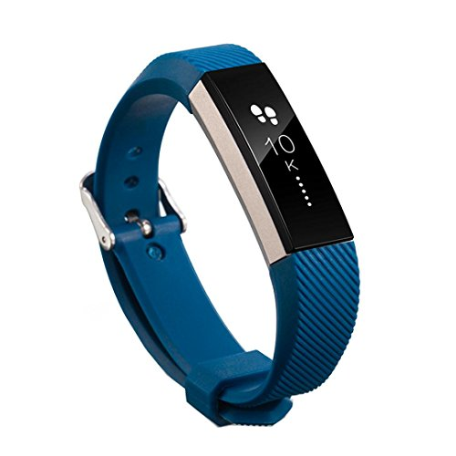 - Replacement Wrist Band (160-220MM)Silicon Strap Clasp For Fitbit Alta HR ,Tuscom (Dark Blue)