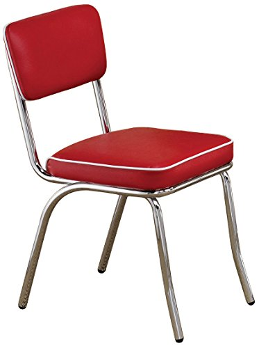 (Retro Side Chairs with Black Cushion Chrome and Red (Set of)
