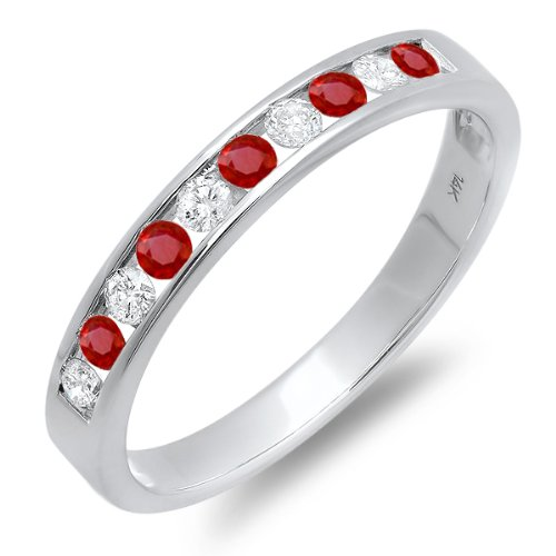 14k White Gold Round Ruby And White Diamond Ladies Anniversary Wedding Stackable Ring Band