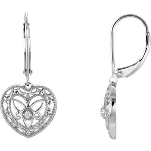 0.02 Ct Heart (.02 ct tw Diamond Heart Lever Back Earrings in Sterling)
