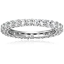 Platinum Plated Sterling Silver Round Cubic Zirconia All-Around Band Ring