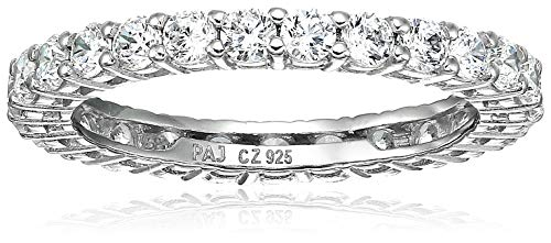 Amazon Essentials Platinum Plated Sterling Silver Round Cut Cubic Zirconia All-Around Band Ring (2.5mm), Size 6 ()