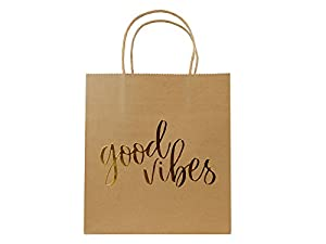 Gold Gift Kraft Paper Welcome Bags 24 Pack Brown With Handles For Wedding Guest Bridal Baby Shower Hotel Graduation Birthday Party Favors