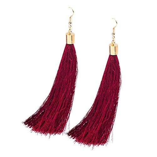 Molyveva Women Thread Tassel Dangle Earrings Bohemia Statement Silk Fringe Drop Thread Chandelier Earring (Wine Red) Crystal Hock Wine