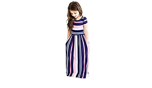 Toddler Girls Long Sleeve Striped Print Hoodie Outfit Dresses Clothes KASSD Baby Dress