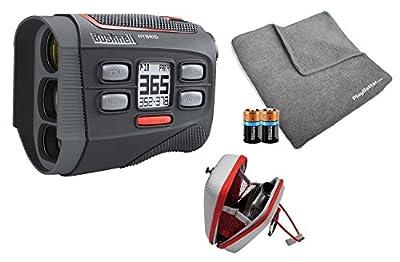 Bushnell 2018 Hybrid Golf Laser/GPS Rangefinder Bundle | Pinseeker w/ Jolt, 1000 Yards, 5X Mag, Case, PlayBetter Microfiber Towel, Two CR2 Batteries | 201835