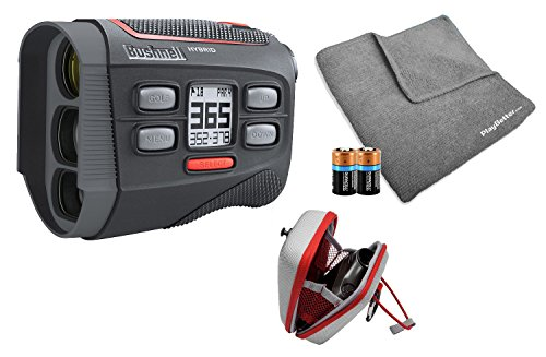 Bushnell 2018 Hybrid Golf Laser/GPS Rangefinder Bundle   Pinseeker w/Jolt, 1000 Yards, 5X Mag, Case, PlayBetter Microfiber Towel, Two CR2 Batteries   201835 (+ Microfiber Towel & Extra CR2 Battery)