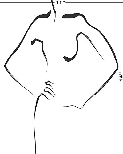 Nude woman line art 5x7 8x10 9x12 12x12 available minimalist line art framedunframedNude D drawing and frame