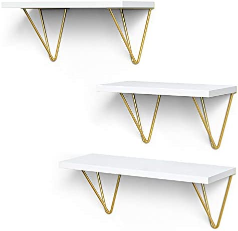 STORAGEGEAR Floating Shelves with Triangle Modern Gold Bracket Set of three Wall Mounted Shelves for Home Decor Living Room , Bathroom, Bedroom, Kitchen