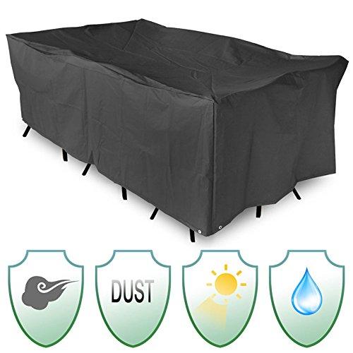 BIGBOBA 1 telo da giardino per tavolo sedie con protezione solare antipolvere 200 /× 160 /× 70 cm pieghevole nero