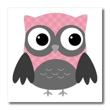 3dRose ht_167615_3 Cute Pink & White Plaid Owl Iron on Heat Transfer Paper for White Material, 10 by 10