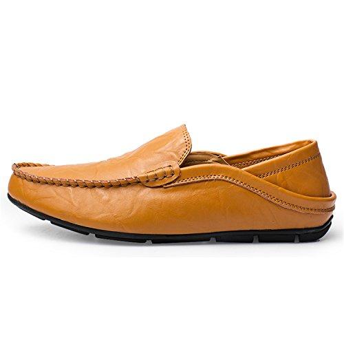 Mocasines Esthesis Cuero Genuino Hombre Casual Boat Zapatos On De Slip Marrón trqTr5wx