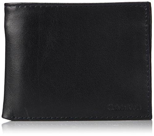 Calvin Klein Men's RFID Blocking Leather Bifold Wallet with Key Fob, black One Size