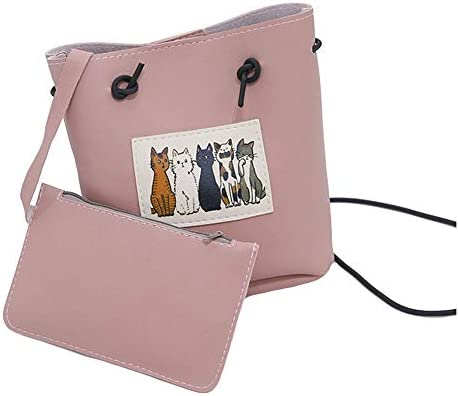 2pcs Cats Design hand bags PU Vegan leather bag female leather luxury soft crossbody bags for women
