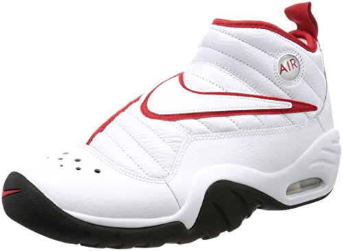 Nike Air Shake Ndestrukt Mens Hi Top Basketball Trainers 880869 Sneakers Shoes (10) White/Red-Black