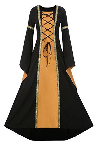 EastLife Womens Renaissance Medieval Dress Lace Up Vintage Floor Length Maxi Witch Dress