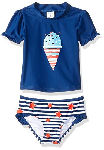 KIKO & MAX Toddler Girls' Swimsuit Set with Short Sleeve Rashguard Swim Shirt, Retro Red White & Blue, ()