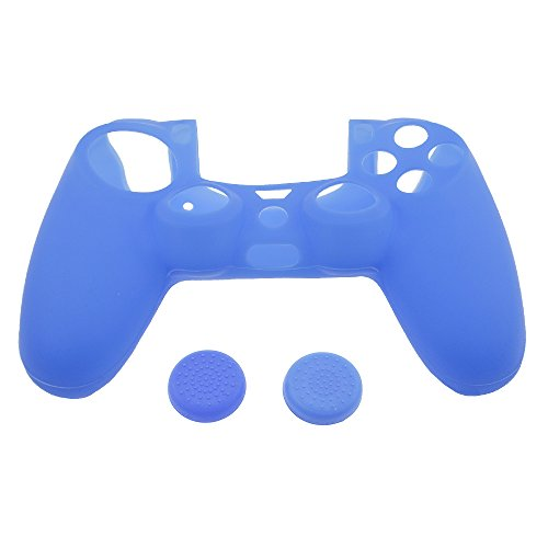 Silicone Rubber Skin Gel Case Cover for Playstation 4 PS4 Controller (Blue) - 2