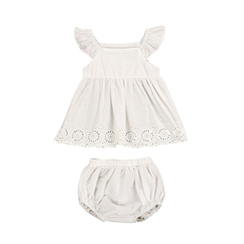 Gorgeous White Eyelet - MIOIM Infant Baby Girls Princess Tiered Eyelet Dress Embroidered Hollow Out Flower Tutu Rompers Dress with Panty (0-3M)