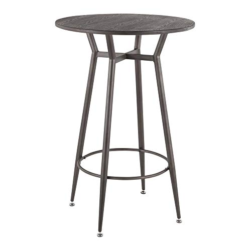 LumiSource Round Bar Table in Antique and Espresso
