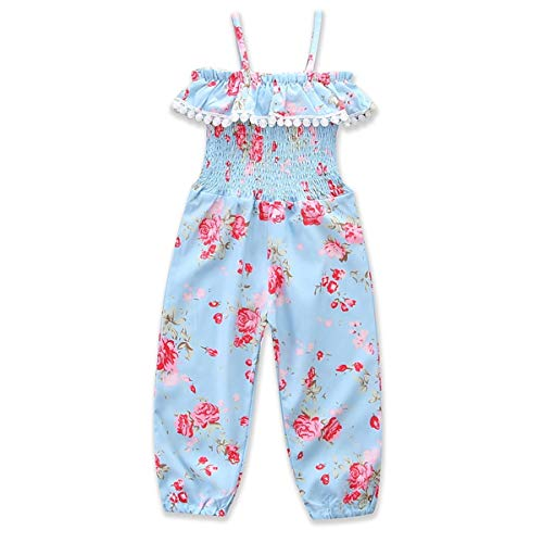 (Leyeet Kid Girl Clothing Fashion Floret Elastic Pleated Ruffle Jumpsuit Bib Pants Suspender Trousers Overalls (Size : 110))