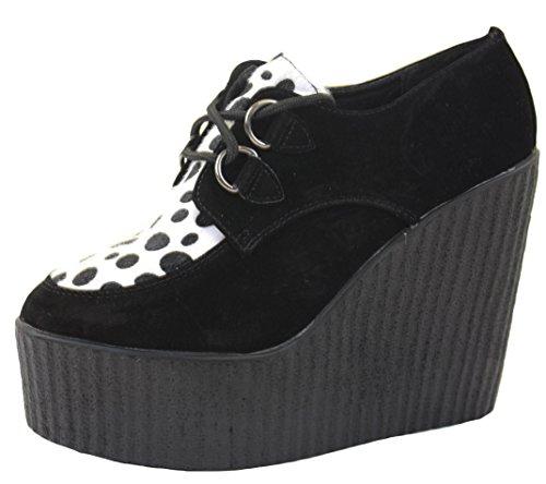 Women Ladies Ankle Black Platform High Suede Black 3 Boots Wedges Wedge Style Shoes BwqSp