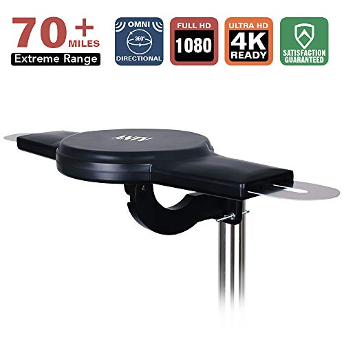 360 Omni-Directional Outdoor Amplified HDTV Antenna with Smart Amplifier and VHF Enhanced 70-Mile Range for Digital HDTV