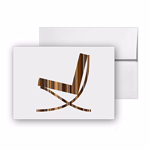 Barcelona Chair 1929 Furniture Design Chair, Blank Card Invitation Pack, 15 cards at 4x6, with White Envelopes, Item 253991