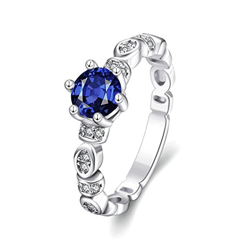 Gnzoe Fashion Jewelry 18K White Gold Plated Women Men's Rings Design Rond shape Inlaid Blue Crystal Size 8 (Platinum Crystal Wine Glass)