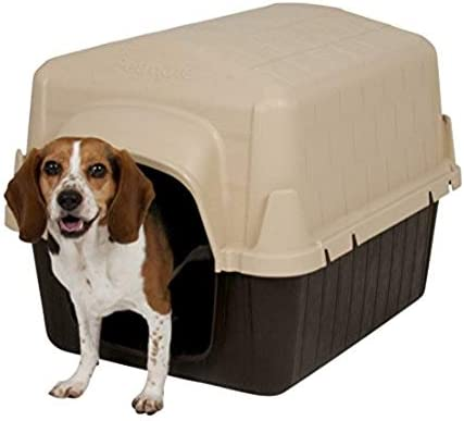 Aspen Pet Petbarn Dog House Snow and Rain Diverting Roof Raised Floor No-Tool Assembly 4 Sizes Available Styles may vary