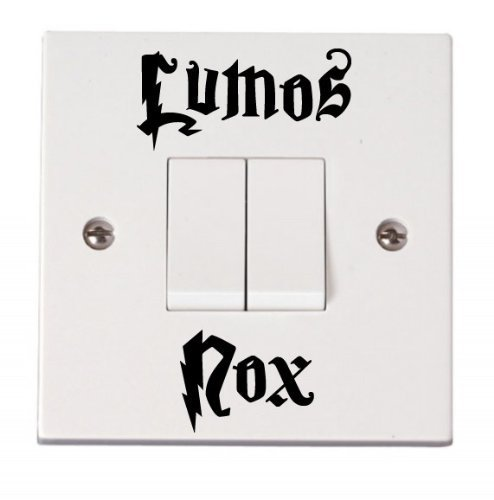 'Lumos Nox On & Off' funny light switch decal graphic sticker (BLACK) by Vinylworld EXPSFD014257