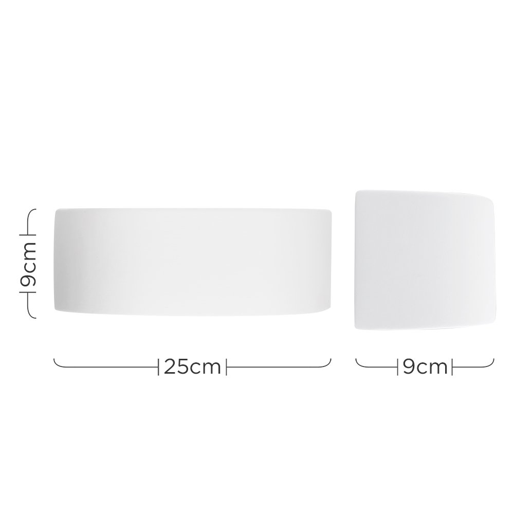 MiniSun Applique Mural//L/èche-Murs en C/éramique Blanc Brut 40 watt Format Compacte e14 Peut /être peint