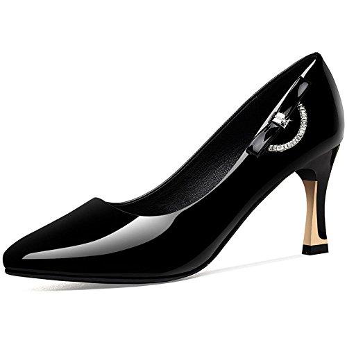 Pompes De Dames Talons Aiguilles Strass Chaussures De Travail Professionnelles Noires Black