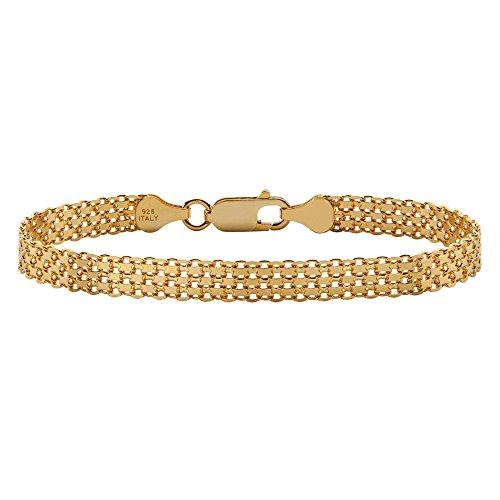 """14k Gold over .925 Sterling Silver Bismark-Link Bracelet 7"""""""