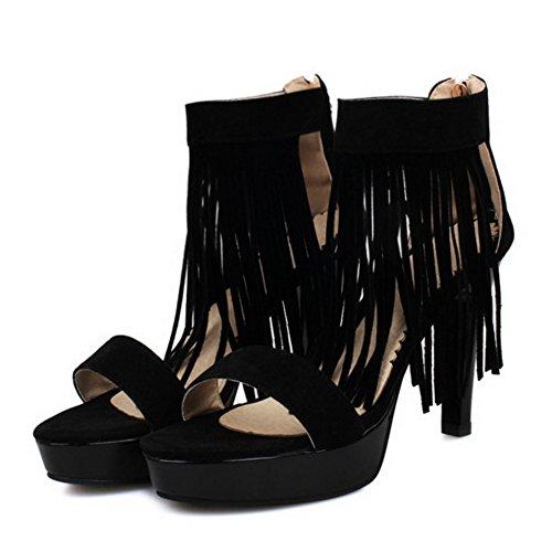 TAOFFEN Femmes Mode Talons Hauts Sandalias Plateforme Bout Ouvert Ankle Wrap Zapatos De La Franse Negro