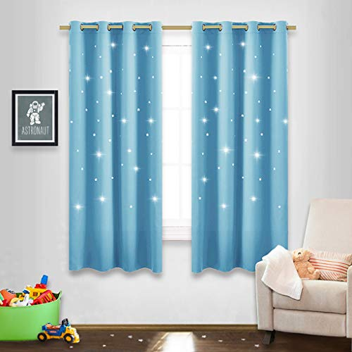 Infant Curtain - NICETOWN Twinkle Star Curtains for Baby - Kid Sky Wonder Star Cut Out Functional Room Darkening Curtains for Baby's Nursery, 52 by 63-Inch, Teal Blue, 2 Pieces