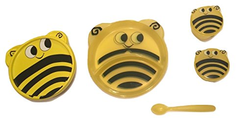 Animal Friends Bee 3 Piece Plastic Dining Set ~ Divided Plates, Snack Containers with Spoons, Travel Bowl with Lid by Greenbrier